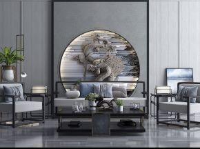 新中式沙发组合