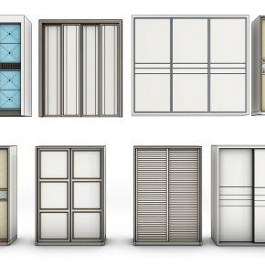 现代衣柜门板组合