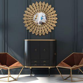 现代端景柜装饰镜子休闲椅落地灯