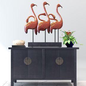 中式装饰柜玄关柜仙鹤摆件