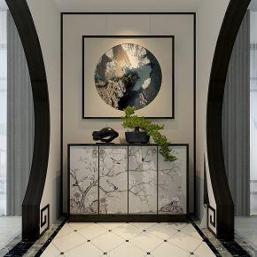 新中式装饰柜玄关柜组合