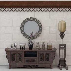 中式玄关柜 雕花装饰柜 电视柜落地灯