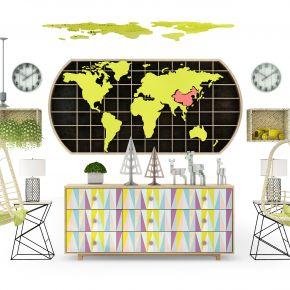 现代儿童地图装饰壁柜组合