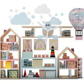 现代儿童装饰柜架书籍玩具组合