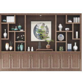 中式实木装饰柜摆件组合01