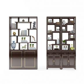 中式实木装饰架摆件组合
