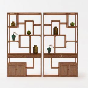 中式实木博古架陶瓷摆件组合