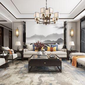 新中式客厅餐厅,沙发,电视柜,餐桌,吊灯,装饰画,