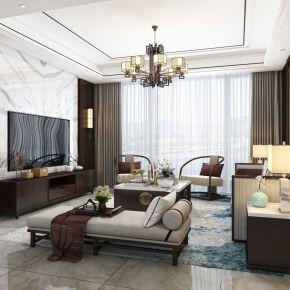 新中式客厅,沙发,电视柜,餐桌,吊灯,装饰画,