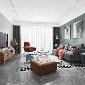 北欧客厅餐厅,沙发,电视柜,餐桌椅,吊灯,装饰画