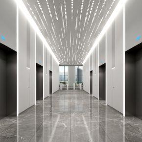 现代办公空间大堂前台