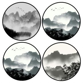 中式圆形水墨山水装饰画挂画