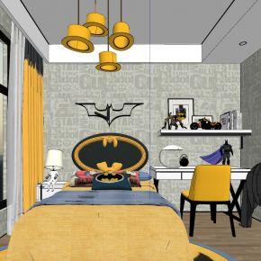 现代轻奢蝙蝠侠主题儿童房