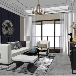 新中式后现代港式轻奢客厅