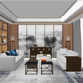新中式后现代简约港式新古典客厅