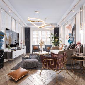 现代北欧简欧风格轻奢客厅