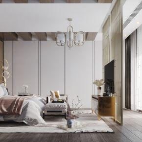 新中式现代简约轻奢风格卧室