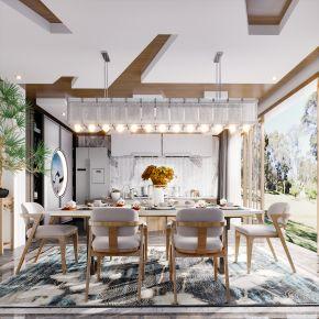 新中式现代简约轻奢风格餐厅厨房