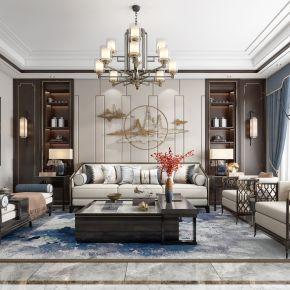 新中式客厅餐厅,沙发,电视柜,餐桌,吊灯,装饰画