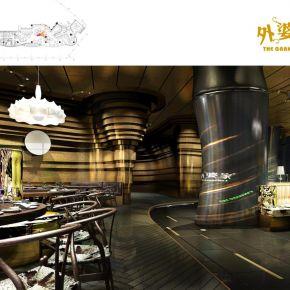 外婆家杭州万象城店施工图和效果图和实景照片