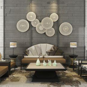 新中式灰色漆沙发茶几组合