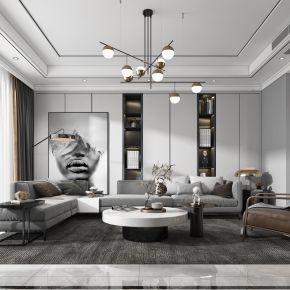 现代客厅,沙发,电视柜,吊灯,装饰画