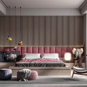 现代卧室双人床