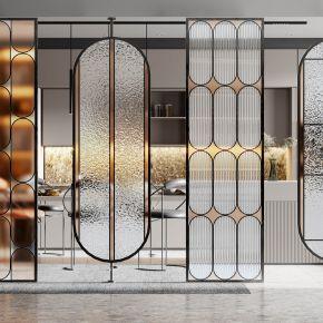 现代玻璃屏风隔断,办公室隔断,磨砂玻璃,长虹玻璃,窄框玻璃隔断,现代厨房