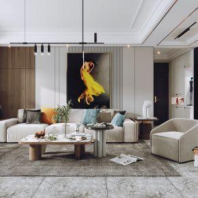 现代客餐厅,沙发茶几组合,电视背景墙,沙发背景墙,陈设摆件,单椅