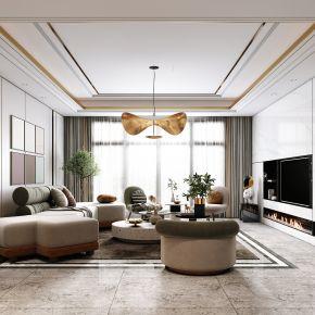 现代客厅,沙发茶几组合,陈设摆件,电视背景墙,沙发背景墙
