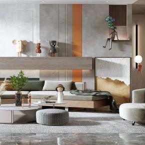 现代客厅,沙发茶几组合,餐桌椅,沙发背景墙,陈设摆件