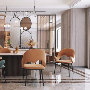 现代客餐厅,沙发茶几组合,餐桌椅,背景墙,陈设摆件,灯具