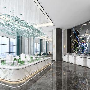 宜华地产售楼部方案一,接待区,沙盘讲解区,大堂前台,现代简约风格,原创
