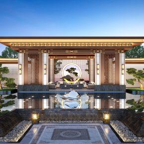 新中式凉亭水景观