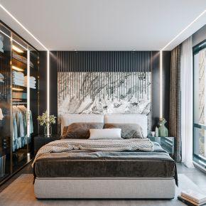 现代卧室,双人床,衣柜